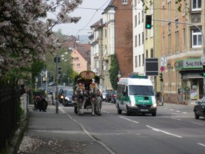 "A beer wagon. They were probably ontheir way to the huge beer fest going on in Bad Cannstadt, ""Freulingfest."""