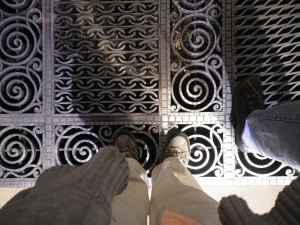 Inside the Cathedral, there is a grating where worshippers and visitors drop coins, which can be seen glistening from above.
