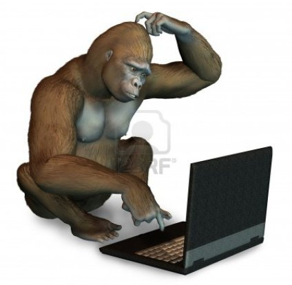 Gorilla with computer